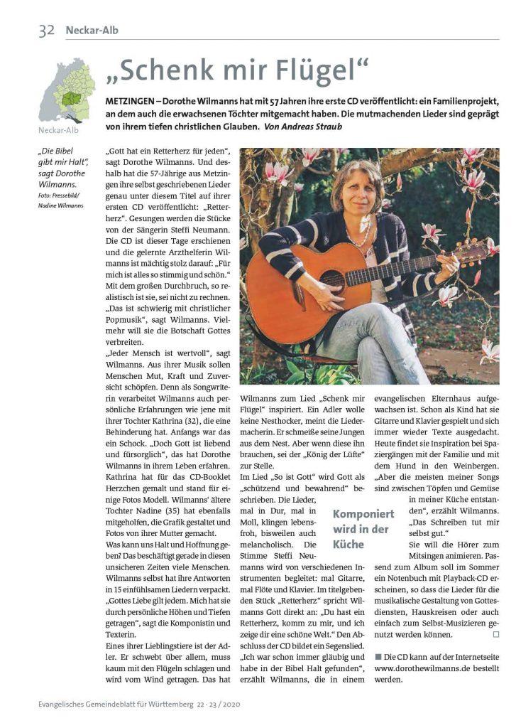 Gemeindeblatt Artikel Dorothe Wilmanns